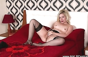 Horny blonde wanks in sheer deathly nylons