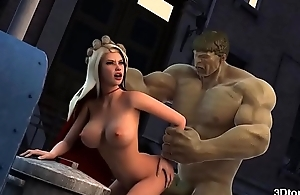 Incredible Hulk fucks smoking hot tow-haired babe