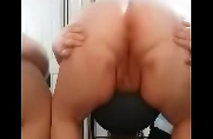 Fat chick shows off her butthole