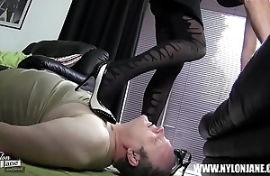 Satin nylon cock foot worship coupled with wank