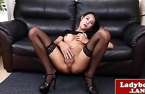 Classy ladyboy jerks off and shows her bore
