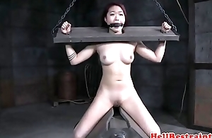 Asian amateur tied relative to and toyed by maledom