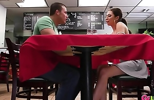 Stunning Babe Sucks Cock Under The Table