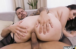 Awesome brunette blows beamy cock before anal fucking