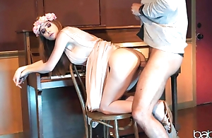 Red-haired hippie spread out penetrated with teacher's rod