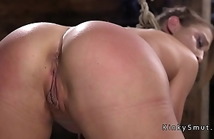 Tied up hot slave ass whipped